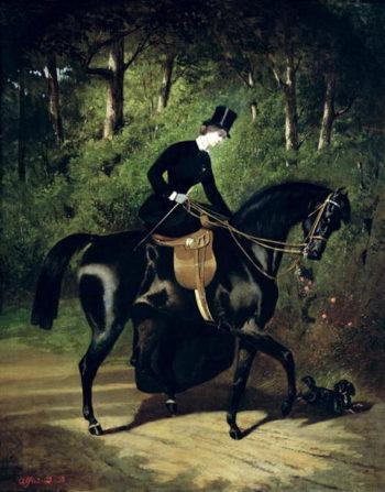 The Rider Kipler on her Black Mare | Alfred Dedreux | oil painting