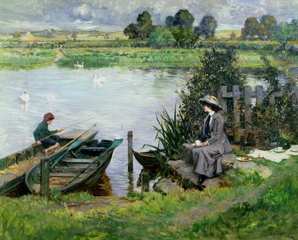The Thames at Benson 1912 | Albert Chevallier Tayler | oil painting