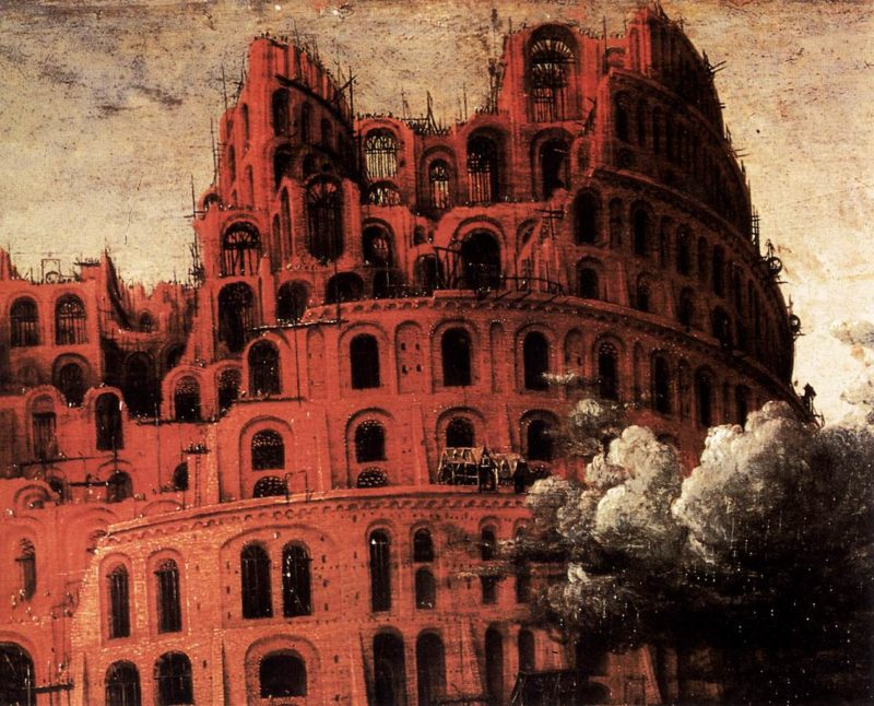 "The ""Little"" Tower of Babel (detail) 1564   Pieter The Elder Bruegel   oil painting"