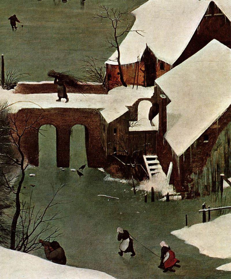 The Hunters in the Snow (detail) 1565   Pieter The Elder Bruegel   oil painting