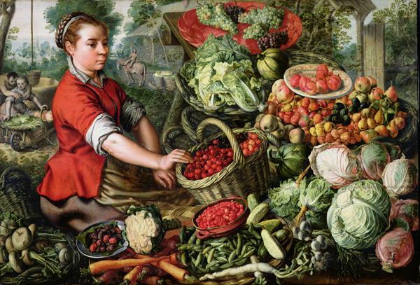 The Vegetable Seller   Joachim Beuckelaer or Bueckelaer   oil painting