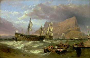 The Victory Towed into Gibraltar 1854 | William Clarkson Stanfield | oil painting