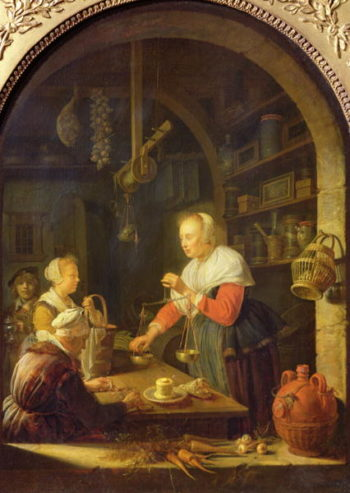 The Village Grocer 1647 | Gerrit or Gerard Dou | oil painting