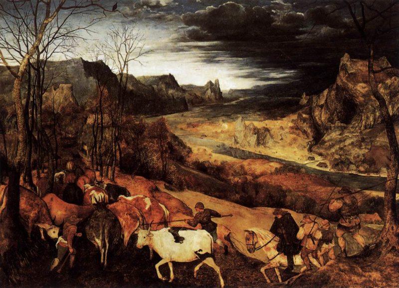 The Return of the Herd (November) 1565 | Pieter The Elder Bruegel | oil painting