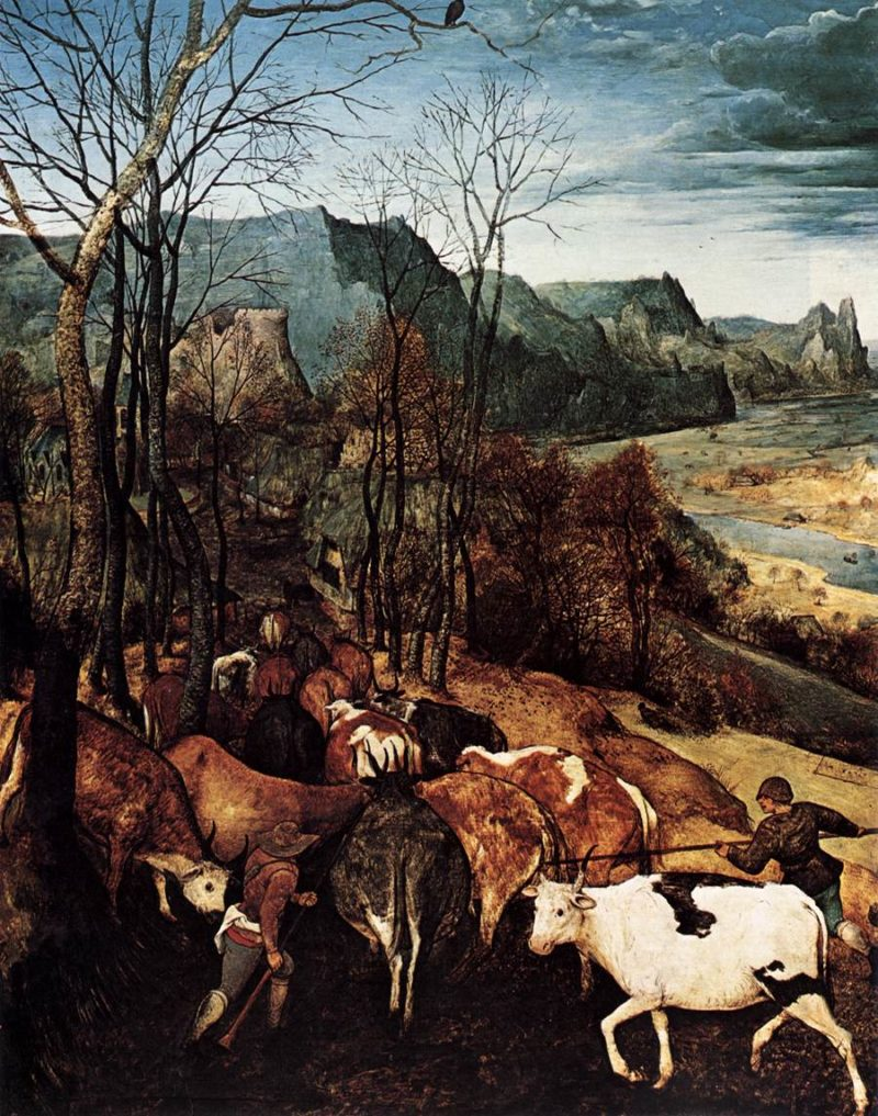 The Return of the Herd (detail) 1565 | Pieter The Elder Bruegel | oil painting