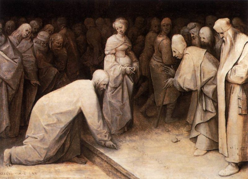 Christ and the Woman Taken in Adultery 1565 | Pieter The Elder Bruegel | oil painting