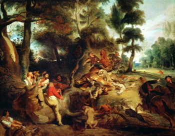 The Wild Boar Hunt after a painting by Rubens 1840 50 | Delacroix | oil painting