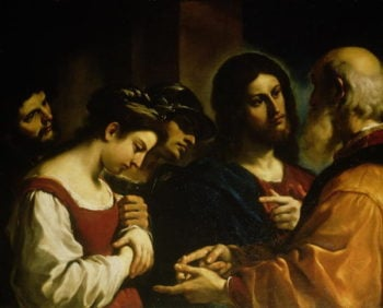 The Woman taken in Adultery 1621 | Guercino | oil painting