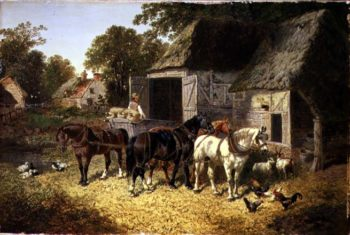 Three Horses at a Haystack | John Frederick Herring Jnr | oil painting