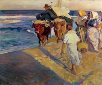 Towing in the boat Valencia Beach 1916 | Joaquin Sorolla y Bastida | oil painting
