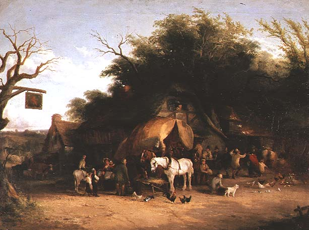 Travellers resting at a Country Inn | William Snr Shayer | oil painting