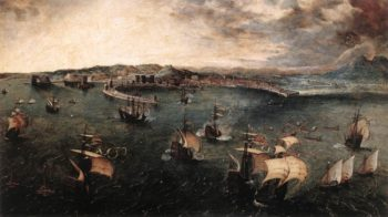 Naval Battle in the Gulf of Naples 1558-62 | Pieter The Elder Bruegel | oil painting