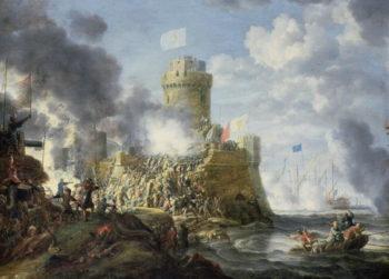 Turks Storming a Seaport 1641   Bonaventura Peeters   oil painting