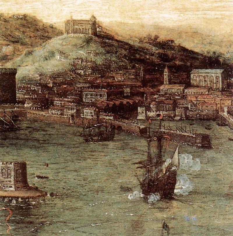 Naval Battle in the Gulf of Naples (detail) 1558-62   Pieter The Elder Bruegel   oil painting