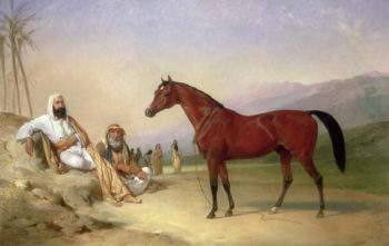 Two Bedouin with a Bay Arab Stallion in the Desert 1860 | Abraham Cooper | oil painting