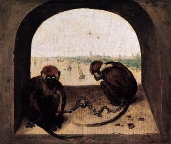 Two Chained Monkeys 1562 | Pieter The Elder Bruegel | oil painting