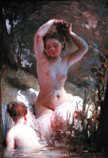 Two Girls Bathing 1864 | Charles Chaplin | oil painting