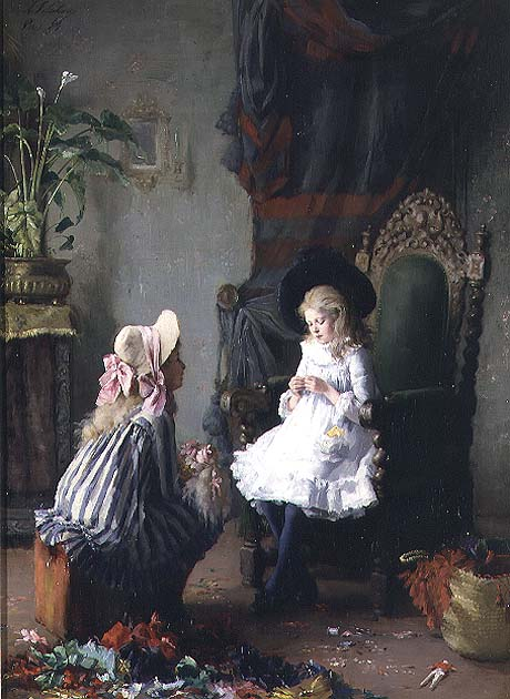 Two Girls Dressing a Doll | Leon Delachaux | oil painting