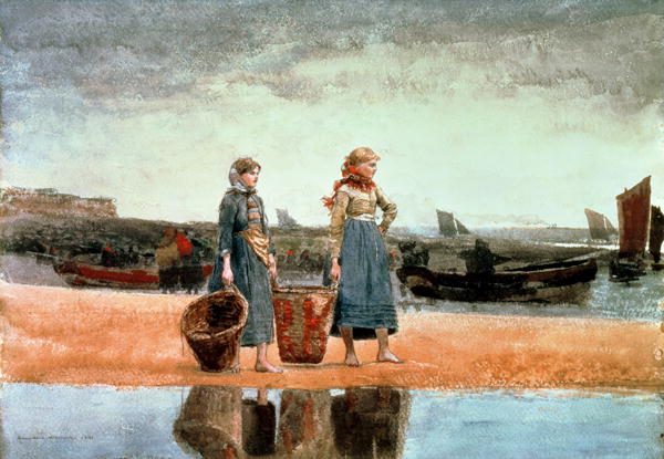 Two Girls on the Beach Tynemouth 1891 | Winslow Homer | oil painting