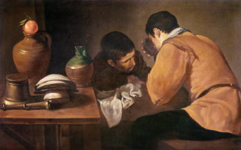 Two Men at Table 1620 21 | Diego Rodriguez de Silva y Velasquez | oil painting