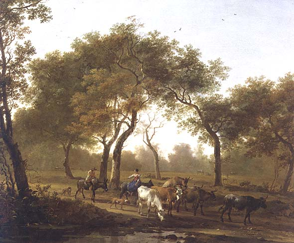 Two peasants with a herd of cattle on a wooded path leading to a lake | Jan Both | oil painting