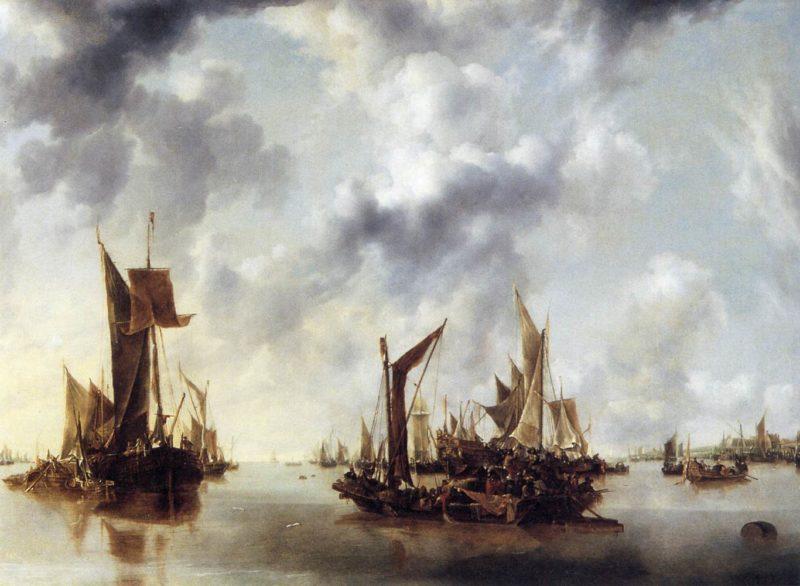 Calm 1654   Jan Van De Cappelle   oil painting