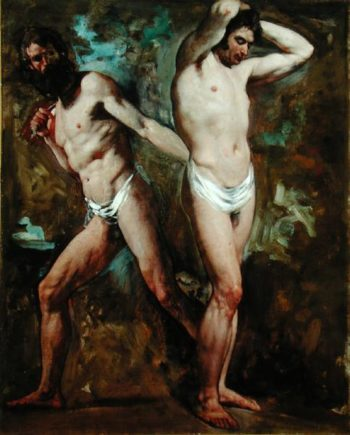 Two Standing Male Nudes | William Etty | oil painting