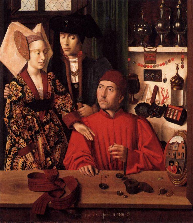 St Eligius in His Workshop 1449 | Petrus Christus | oil painting