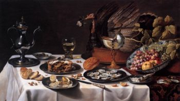 Still life with Turkey Pie 1627 | Pieter Claesz | oil painting