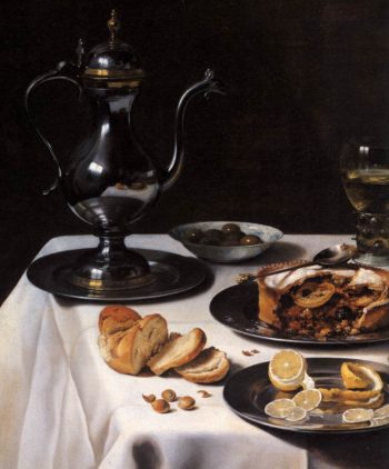 Still life with Turkey Pie (detail) 1627 | Pieter Claesz | oil painting