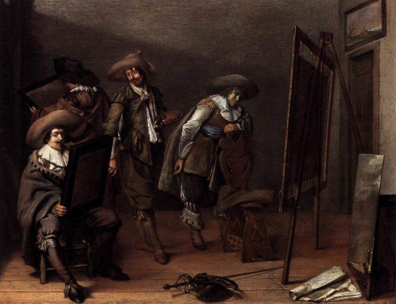 Art lovers in a Painter's Studio 1630 | Pieter Codde | oil painting