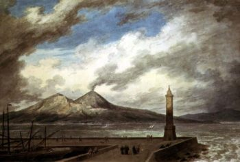Vesuvius and Somma from the Mole at Naples | John Robert Cozens | oil painting
