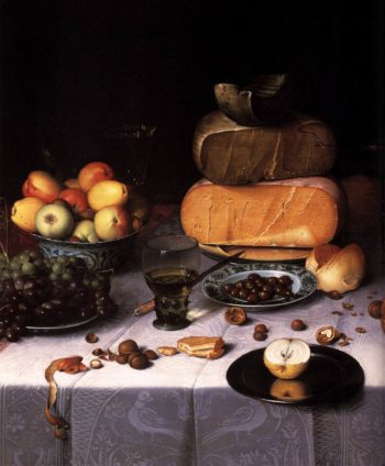 Laid Table with Cheeses and Fruit (detail) 1615 | Floris Claesz Van Dijck | oil painting