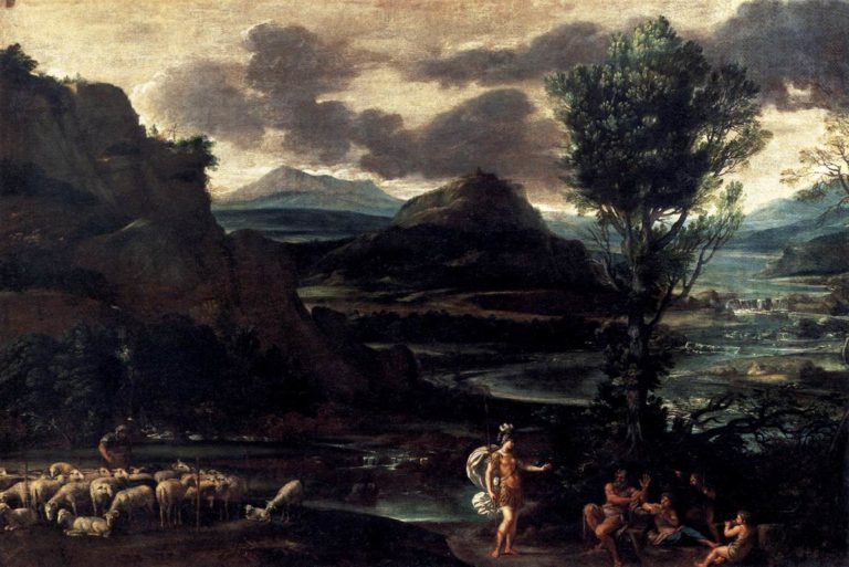 Landscape with Erminia and the Shepherds 1620 | Domenichino | oil painting
