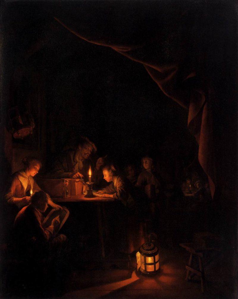 The Night School 1660   Gerrit Dou   oil painting