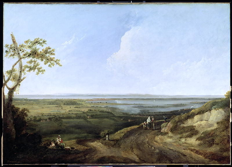 View of Portsmouth from Portsdown Hill | Thomas Jones | oil painting
