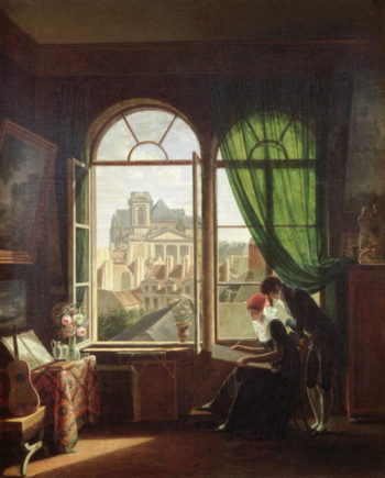 View of Saint Eustache Church from a House on Rue Platriere or The Artist's Interior 1810 | artin Drolling | oil painting