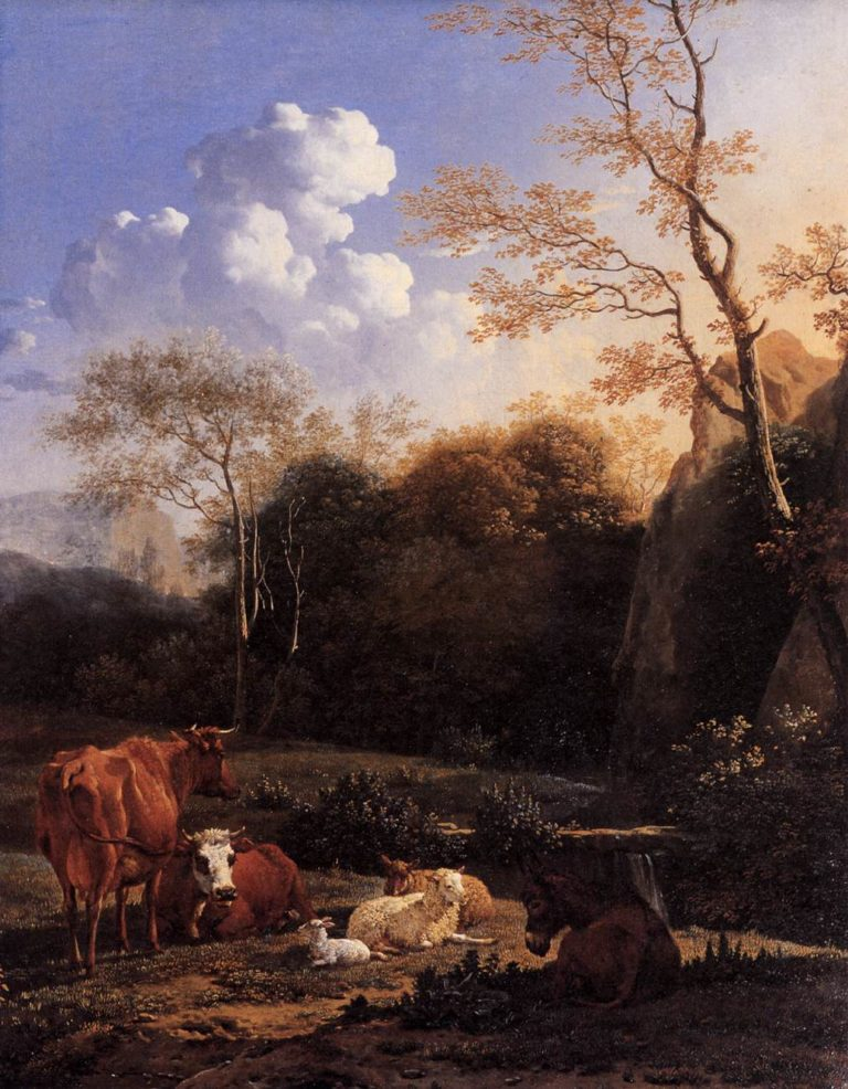Cows and Sheep at a Stream 1655-56 | Karel Dujardin | oil painting