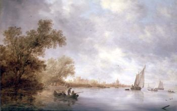 View of the River Lek with Boats and Liesvelt Castle | Salomon van Ruisdael or Ruysdael | oil painting