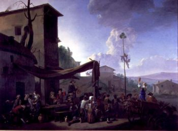 Village Scene with Peasants Merrymaking | Johannes Lingelbach | oil painting