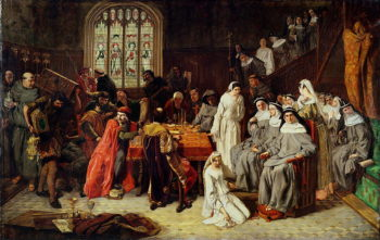 Visitation and Surrender of Syon Nunnery to the Commissioners 1539 | Paul Falconer Poole | oil painting