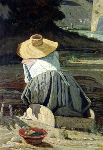 Washerwoman by the River 1860 | Paul Camille Guigou | oil painting