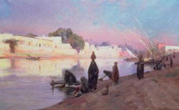 Washerwomen on the banks of the Nile | Eugene Alexis Girardet | oil painting
