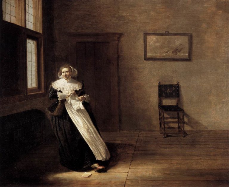 Woman Tearing a Letter 1631 | Dirck Hals | oil painting