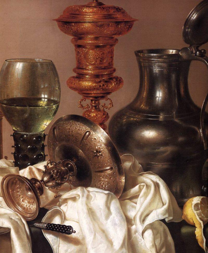 Still life with Gilt Goblet (detail) 1635 | Willem Claesz Heda | oil painting