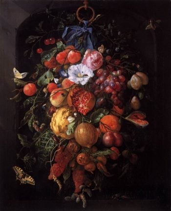 Festoon of Fruit and Flowers 1660 | Jan Davidsz De Heem | oil painting