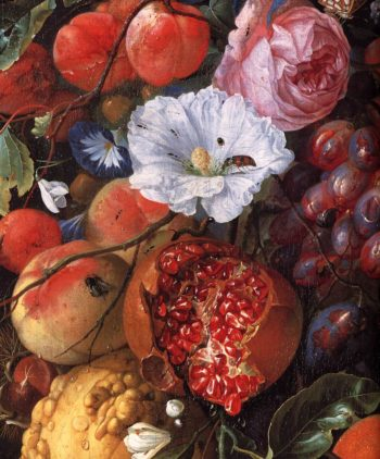 Festoon of Fruit and Flowers (detail) 1660 | Jan Davidsz De Heem | oil painting