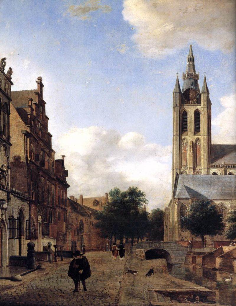 The Oude Kerk on the Oude Delft in Delft (detail) 1675 | Jan Van Der Heyden | oil painting