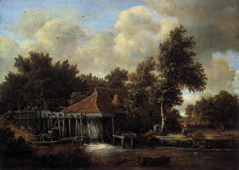 A Watermill 1664 | Meyndert Hobbema | oil painting