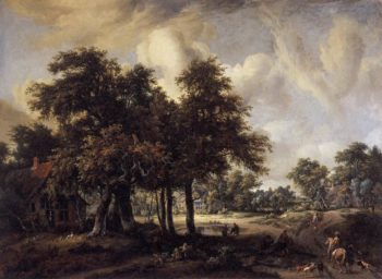 Wooded Landscape with Cottages 1655 | Meyndert Hobbema | oil painting